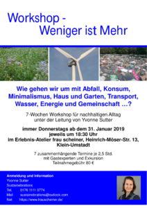 Weniger ist mehr - Workshop für nachhaltigen Alltag in Klein-Umstadt @ Erlebnis-Atelier Frau Scheiner