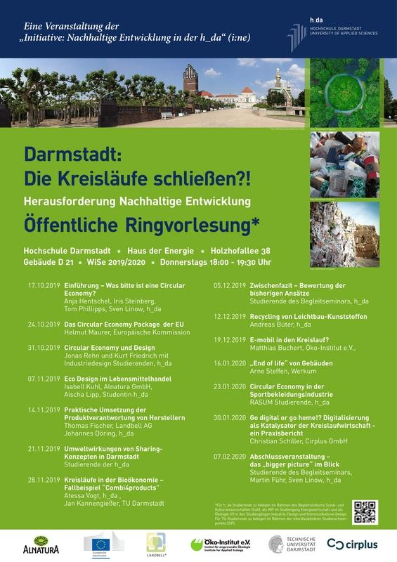 """Ringvorlesung """"Die Kreisläufe schließen?! Herausforderung Nachhaltige Entwicklung"""" @ h_da, Haus der Energie, Raum 0.13"""