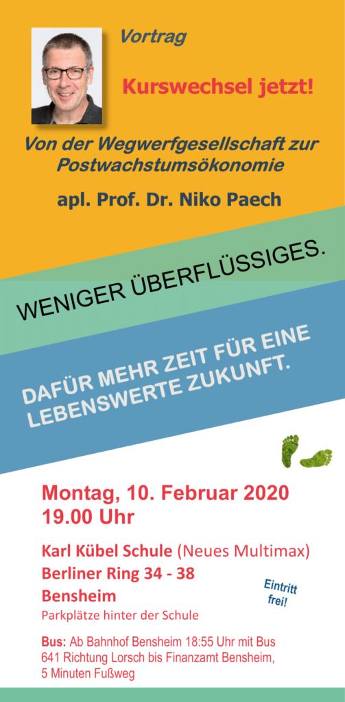 """Vortrag """"Kurswechsel jetzt!"""" von Niko Paech in Bensheim @ Karl-Kübel-Schule, Bensheim"""