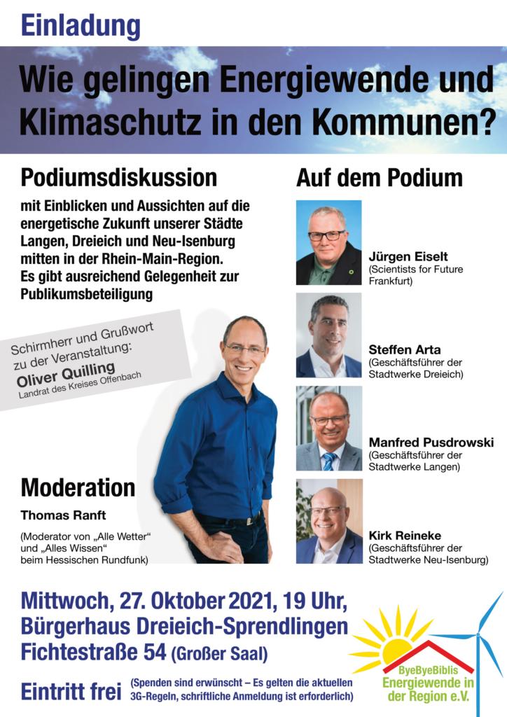 """Podiumsdiskussion """"Wie gelingen Energiewende und Klimaschutz in den Kommunen?"""" in Dreieich @ Bürgerhaus Dreieich-Sprendlingen"""